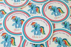 My Little Pony Inspired Collection -Favor Tags, Thank You Tags, Gift Tags. $6.00, via Etsy.