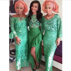 "Green and coral Nigerian wedding inspiration for brides! @aisleperfect's photo: ""The prettiest green asoebi via @tojufoyeh #aisleperfect #aptrad"""