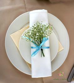 #decoration #wedding #flowers #rustic #lavender #napkin #babybreath