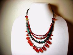 """Chico's Bead Necklace Faceted Crystals Orange Green Rust Gold-Tone 16.5"""" Choker #Chicos #StrandString"""