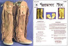 Native American Shawnee Indian Moccasin Sewing Pattern in Ankle or ...