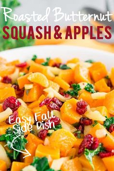 This delicious dish of Roasted Butternut Squash and Apples is the perfect fall side for any holiday table. Made with a simple but tasty maple vinaigrette and with the colorful additions of fresh kale… More Best Vegetable Recipes, Homemade Vegetable Soups, Vegetarian Recipes, Delicious Recipes, Fruit Recipes, Apple Recipes, Fall Recipes, Dinner Recipes, Dinner Ideas