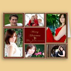 I just love cards with photos! A beautiful card perfect for wishing your friends and family Merry Christmas. The background is a beautiful red and gold glitter frames. In the center is a red square with Merry Christmas in gold. Around the center are six frames for your own photos. $3.95