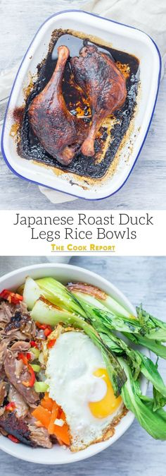 "Healthy Recipes : Illustration Description Japanese roast duck legs are shredded and served over sticky rice with pak choi, chilli and perfectly soft fried egg for a tasty dinner all in one bowl! ""Nothing will work unless you do"" ! Duck Leg Recipes, Best Egg Recipes, Best Dinner Recipes, Healthy Recipes, Savoury Recipes, Savoury Dishes, Amazing Recipes, Japanese Duck Recipe, Japanese Food"