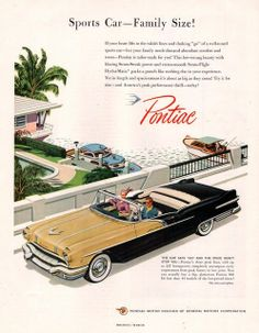 1956 Pontiac Star Chief Convertible car print ad Black by Vividiom, $9.00