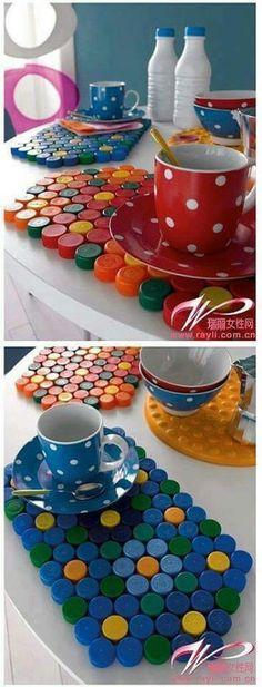 Plastic Bottle Caps Reused as Table Mat Piece