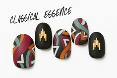Beautiful nail art designs that are just too cute to resist. It's time to try out something new with your nail art. Dark Color Nails, Nail Colors, Japan Nail, Nailart, Modern Nails, Japanese Nail Art, Geometric Nail, Manicure E Pedicure, Autumn Nails