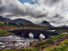 Scotland, Bridge, Clouds, Mystical