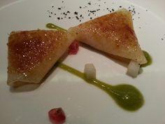Impresionante: Melon con foie y salsa de espinacas y granada en Rtte Sandó
