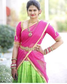 Looking for half hand blouse designs to try with your party wear sarees? Here are 15 chic blouse models that can make your silk and designer sarees pretty! Blouse Back Neck Designs, Bridal Blouse Designs, Pink Half Sarees, Sarees For Girls, Half Saree Lehenga, Half Saree Designs, Wedding Silk Saree, Saree Photoshoot, Dresses Kids Girl