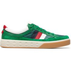 Gucci Leather and nylon sneakers ($650) ❤ liked on Polyvore featuring men's fashion, men's shoes, men's sneakers, green, mens leather shoes, mens multi colored shoes, mens green leather dress shoes, gucci mens shoes and colorful mens shoes