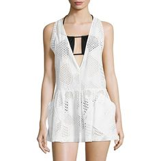 MILLY Geometric Eyelet Coverup ($250) ❤ liked on Polyvore featuring swimwear, cover-ups, apparel & accessories, white cotton cover up, swim swimwear, milly swimwear, cotton swim cover up and cotton beach cover up