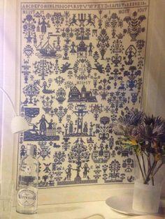 Permin Cross Stitch Pattern Sampler 1830 Blue Quaker Motifs Large 330 x 439 Stit #PerminofCopenhagen