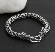 Feng Shui Dragon Bracelet Silver Dragon Lucky Bracelet