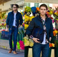 Adam Gallagher - Similar Here > Jacket, Similar Here > Plaid, Ted Baker Satchel, Similar Here > Boots - Blossoming | LOOKBOOK