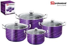 "4pc CASSEROLE SET ""AMETHYST"" - SQ Professional brings you its brand new flagship 'Gems' range of cookware. This sets sparkles with the brilliance of the gemstones after which it is named. Made from high quality stainless steel, they come complete with vented, tempered glass lids. You can be certain that a set from the Gems range will be the talking point in any kitchen. Dimensions: 3.7L - ø20cm x 12cm 