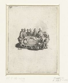 Jacques Callot   Bruiloft te Kana, Jacques Callot, 1621 - 1625   Christus en Maria zitten aan een ronde tafel met vier andere mensen. Voor de tafel giet een man water in vaten. Deze prent is onderdeel van een vierdelige serie prenten met maaltijden waaraan Christus deelneemt.