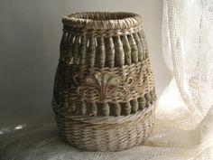 Handmade unusual wicker vase with handmade beads