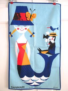 Vintage Souvenir Towel Denmark Wonderful Copenhagen
