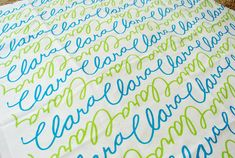 Personalized fabric!!! So cute for a picture backdrop! Or Pillows! Or a Blanket!! Or.....