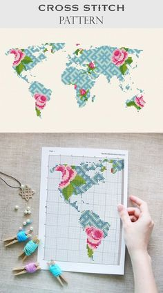 Modern cross stitch World map cross stitch pattern Geometric cross stitch Floral embroidery Planet cross stitch Map flower chart Earth day - WORLD MAP DIY decor - Embroidery Stitches Tutorial, Learn Embroidery, Embroidery Techniques, Embroidery Patterns, Flower Embroidery, Counted Cross Stitch Patterns, Cross Stitch Charts, Cross Stitch Embroidery, Flower Chart