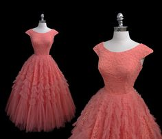 Vintage 1950s Coral Tulle and Lace Tiered by CalendarGirlVintage