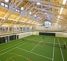 VERY Cool for the ball lover! Indoor track, weight room, and courts for tennis, racquetball, and basketball. Game on!