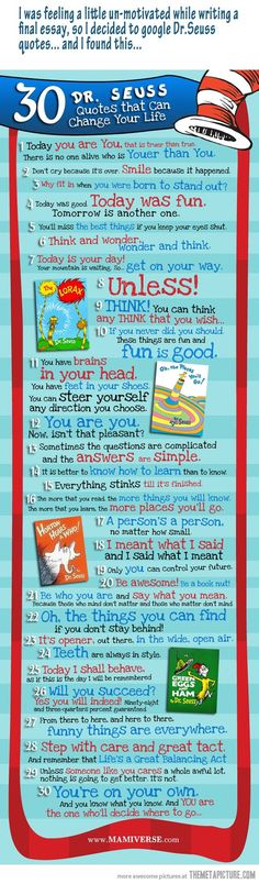 "Dr. Seuss quotes - Such simple wisdom!  ""You are you, now isn't that pleasant?"""
