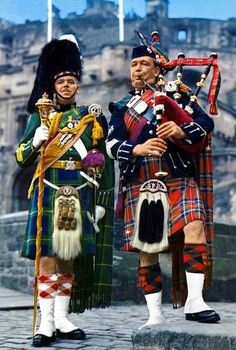 Drum and Pipe Major wearing colourful Tartan.  c. 1970