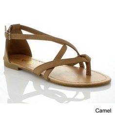 Anna Women's 'Adele-2' Strappy Slingback Flat Sandals