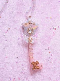 One of kind handcrafted Pastel Magical Girl Star Key Staff Necklace Pendant. Comes with a crystal beaded chainto 21.1inch. **Pendant Measures 4 1/1inchs** Item Is Ready To Ship Handcrafted In New York