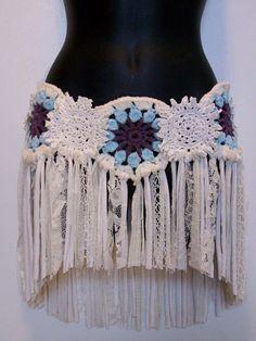pixie skirt lace crochet lace over skirt feminine by LamaLuz, $64.00