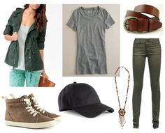 Grey shirt, olive green pants, green jacket, brown sneakers, black hat, pendant necklace
