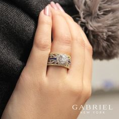 Gabriel NY - Voted #1 Most Preferred Fine Jewelry and Bridal Brand. 18k Yellow/White Gold Round Halo  Engagement Ring