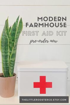 This beautiful modern farmhouse vintage inspired first aid box is sure to keep you extra organized while also looking great on a shelf. Attractive enough to leave on display in a bathroom or mud room or tuck it away in a closet for functional and stylish organization.
