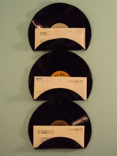 Vinyl Record #Mail Holders  - what a cool way to # organize incoming, outgoing, etc. mail!  | $29 via etsy