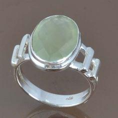 DESIGNER 925 STERLING SILVER PREHNITE CHALCEDONY RING 5.09g DJR9073 SZ-7 #Handmade #Ring