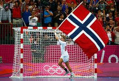 Day 15 - Norway's Linn-Kristin Koren celebrates after defeating Montenegro in their women's gold medal match at the Basketball Arena during the London 2012 Olympic Games. MARKO DJURICA/REUTERS