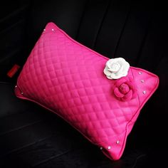 Hot Pink Bone Shaped Car Headrest Pillow with Pink and White Camellia