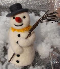Needle Felted Snowman Christmas Decor wool by OldFairyTales @Etsy.com (1 left as of 11/2/13)