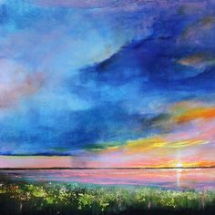 Toni Grote Spiritual Art From My Heart to Yours : Feb 1 Sunrise Sunset Original Painting 10x10 Lake Landscape