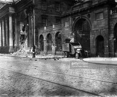 A wrecked Lancia armoured car outside the Four Courts in Dublin, the headquarters of the anti-Treaty Republicans, having been shelled by Free State forces during the Irish Civil War. Get premium, high resolution news photos at Getty Images Fine Art Prints, Framed Prints, Canvas Prints, Old Pictures, Old Photos, Armored Vehicles, Army Vehicles, Republic Of Ireland, Stuffed Shells