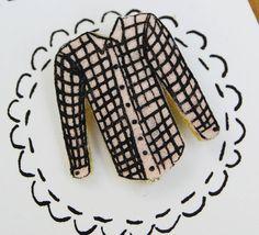 Checkered Shirt Felt Brooch by sarahjuliaclark on Etsy