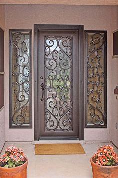 ideas iron door design ideas house for 2019 Front Door Entryway, Iron Front Door, Iron Doors, Entry Doors, Garage Entry, Main Door Design, Front Door Design, Gate Design, House Design