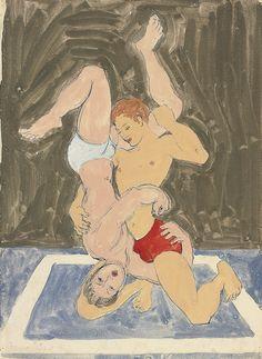 thunderstruck9:  Duncan Grant (British, 1885-1978), Wrestlers, c.1960. Biro and gouache, 49.6 x 36.9 cm.