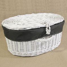 Biała wiklinowa walizka z obszyciem (ciemne khaki)