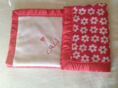 """Baby blanket, personalized, custom, embroidered, soft fleece with satin trim. Approx 40""""x 34"""" CIJ on Etsy, $45.00"""