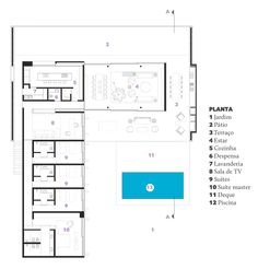studio mk27:<br>Casa Pasqua, SP Best House Plans, Modern House Plans, House Floor Plans, Architecture Plan, Residential Architecture, U Shaped Houses, L Shaped House Plans, Studio Mk27, Large Floor Plans
