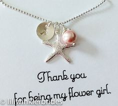Flower Girl Necklace, Starfish Pearl Initial Cluster, Birthstone Silver Personalized Jewelry, Nautical Wedding, Beach wedding gift on Etsy, $24.99