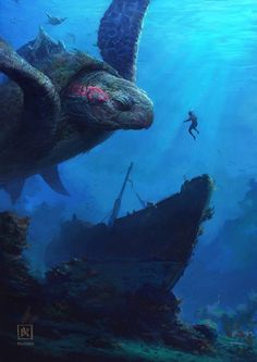Artwork of mythological figures depicted in traditional, fantasy, or sci-fi settings. Fantasy Places, Fantasy World, Fantasy Artwork, Mythical Creatures, Sea Creatures, Wow Art, Sea Monsters, Fantasy Landscape, Creature Design